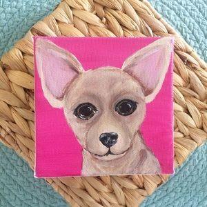 Chihuahua mini canvas painted pink tan dog art